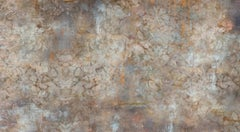 Eroded Damask, Large Horizontal Photograph of Layered Baroque Patterns in Brown