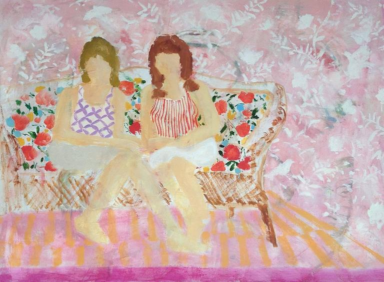 Sisters, Two Women in Patterned Shirts on Floral Print Couch, Pink Background