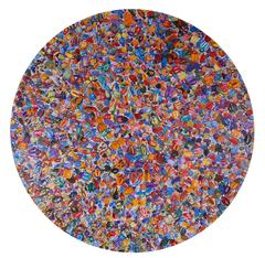 1789 Beetles, Large, Circular Painting of Hundreds of Multicolored Beetles