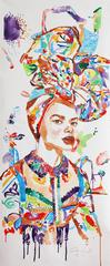 Creole I, Vertical Portrait, Woman With Multicolor Patterned Dress and Headdres