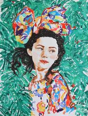 Dense Forest, Portrait of Young Girl with Background of Tropical Leaves