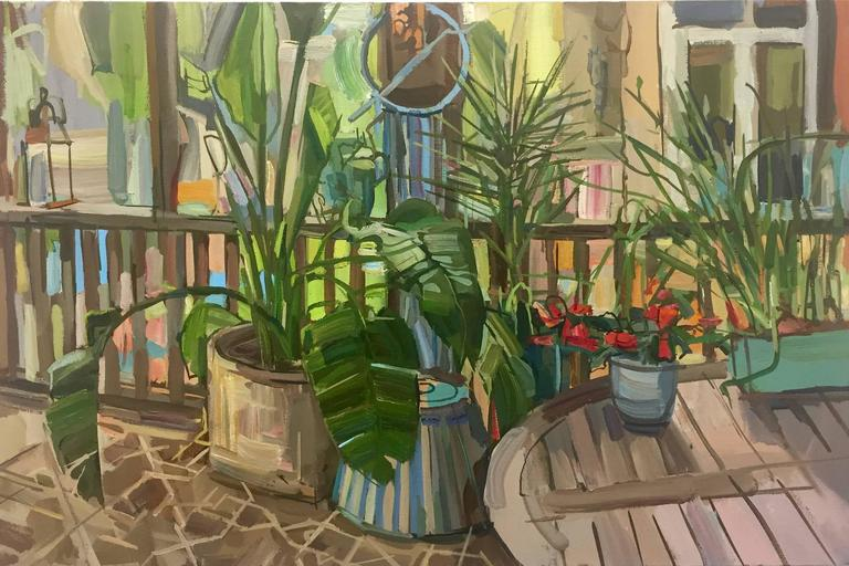 Francis Sills Interior Painting - Plants on Porch, Oil Painting of Potted Plants on Artist's Porch