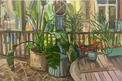 Plants on Porch, Oil Painting of Potted Plants on Artist's Porch