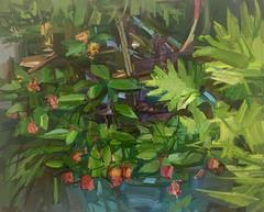 Spring Garden II, Landscape Oil Painting of Foliage and Red Flowers