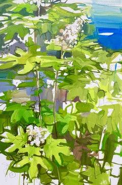 Oak Leaf Hydrangea, Landscape Painting on Paper