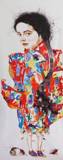 Ancestors and Descendants I, Vertical Figurative Painting, Girl, Colorful Dress