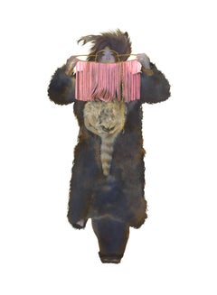 Pink Trap, Small Figurative Western Strong Female in Fur Portrait, Bright Pink