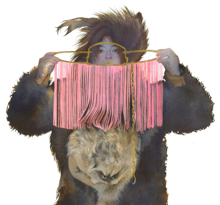 Pink Trap, Small Figurative Western Strong Female in Fur Portrait, Bright Pink - Painting by June Glasson