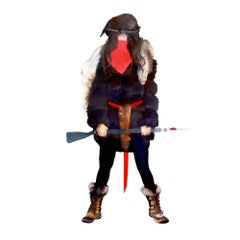 Portrait of an Artist as a Mountain Man, Western Strong Female Gun Portrait, Red