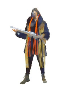 S.R. & Gun, Small Figurative Western Strong Female Gun Portrait, Orange, Yellow