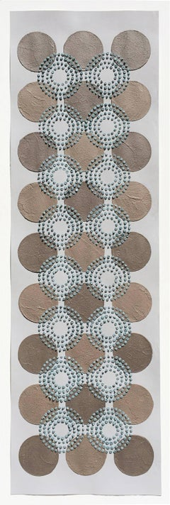 Untitled, Brown Blue Dots, Long Vertical Horizontal Patterned Circles Textured