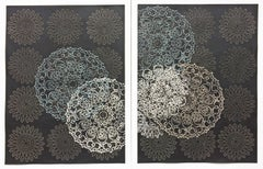 Untitled Diptych, Contemporary Mixed Media Mandala Blue White Textured Patterns