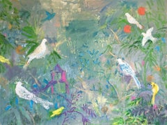 After Livia, Gray Blue, Multicolored, Horizontal Serene Abstract Birds in Garden