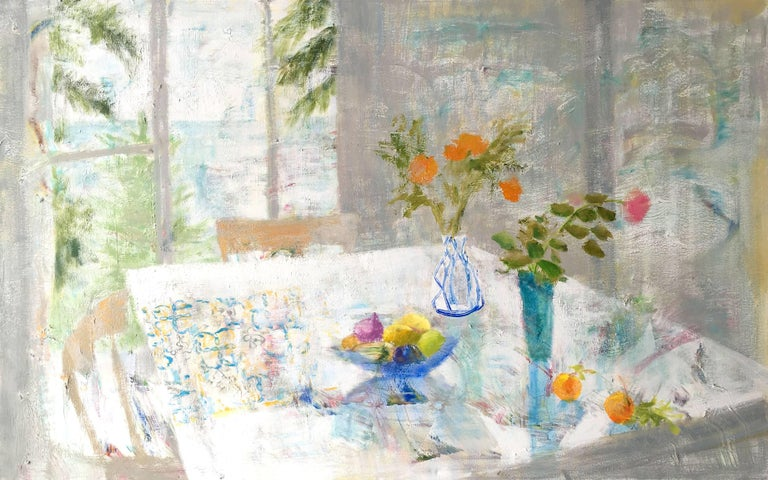 Rain Table, Romantic Grey, Blue Still Life Interior Hints Orange, Pink, Yellow