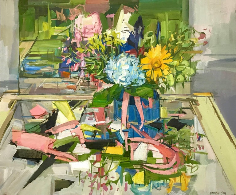 Francis Sills Still-Life Painting - Floral Still Life II, Yellow, Blue, Pink and Green Flowers in Vase on Table