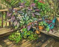 Summer Garden II, Still Life of Plants in Shades of Green, Purple and Brown