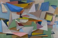 Here Comes the Night, Large Horizontal Geometric Painting, Multicolored Shapes