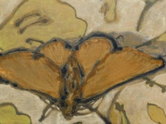 Moth and Tablecloth, Moth with Orange Wings on Yellow and Beige Background
