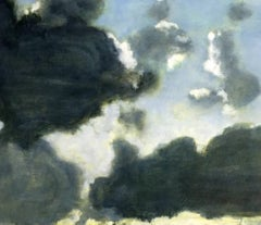 Passel of Clouds, Light Blue, Soft White, Grey and Pale Yellow Sky Painting