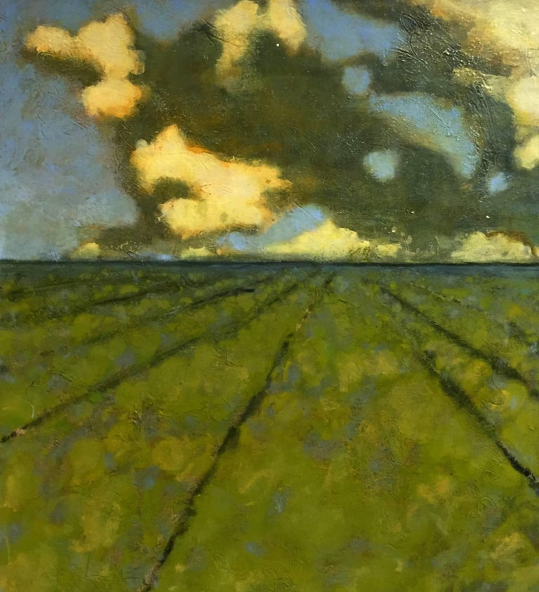 David Konigsberg Landscape Painting - June Field, Green, Blue, Pale Yellow Landscape with Fields, Sky and Clouds