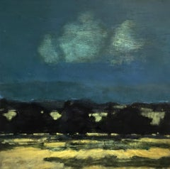 Night Orchard, Nighttime Dark Blue Sky Over Yellow Field and Brown Mountains