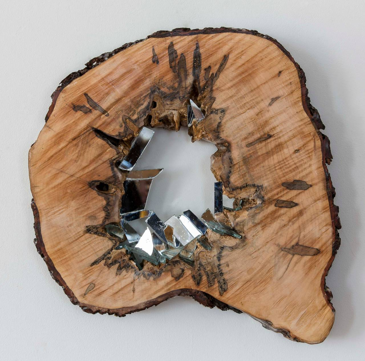 Vestige Three, Circular Natural Wall Hanging Wood Slice Sculpture with Mirror
