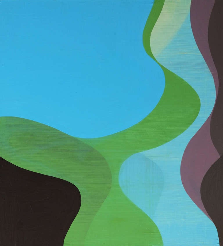 Margaret Neill Abstract Painting - Conduit, Abstract Undulating Green Blue Black Painting