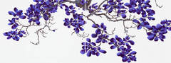 Dark Delight, Long Horizontal Dark Purple Botanical Tree Painting on Mylar