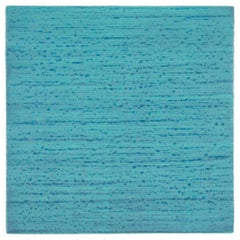Silk Road 247, Turquoise Blue Encaustic Color Field Square Painting