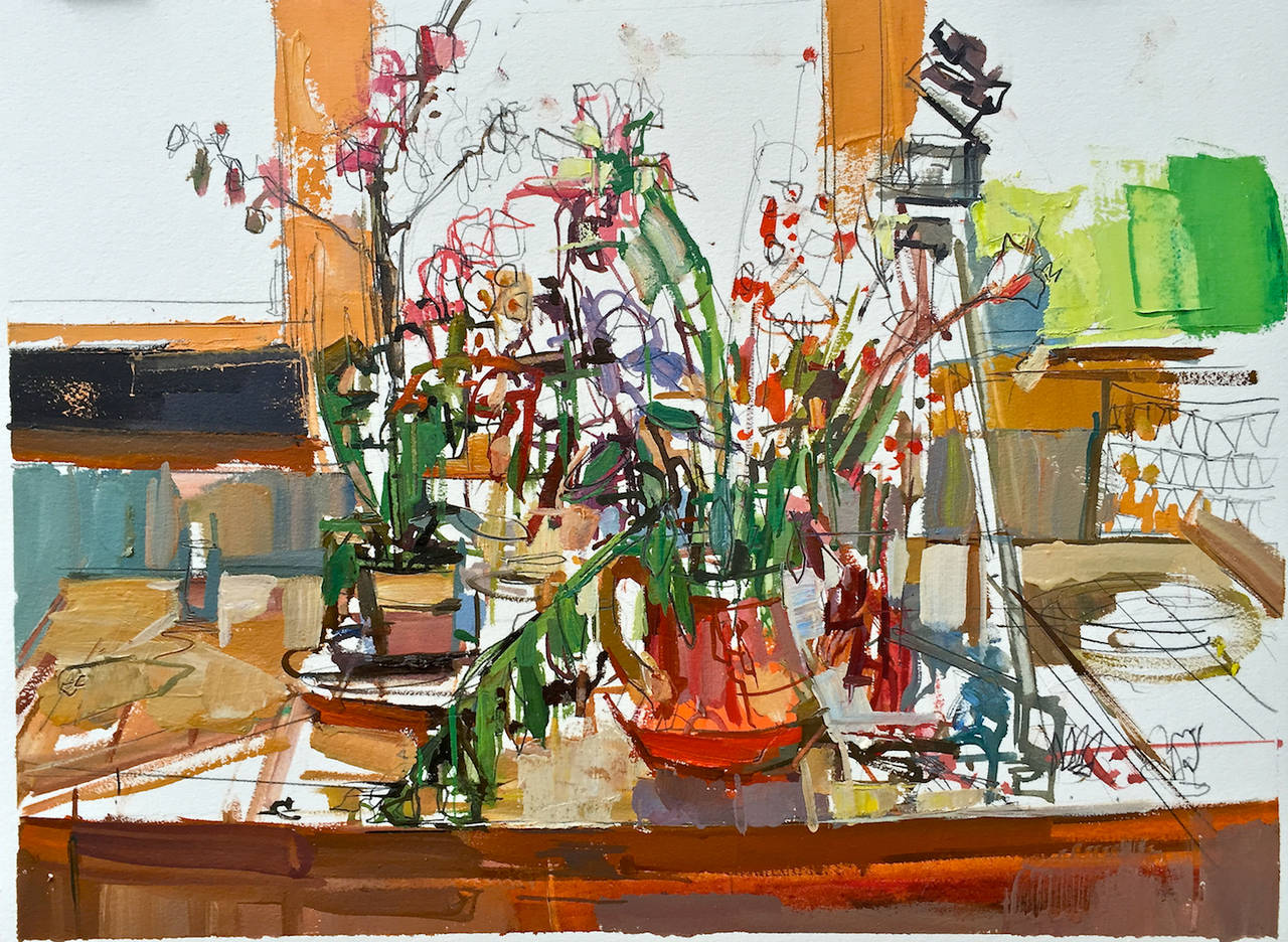 Francis Sills Still-Life Painting - Flowers On Table