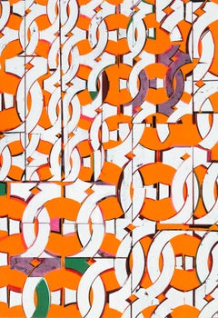 Scent of Water, Large, Bright Orange, White, Green, Circular, Abstract Pattern