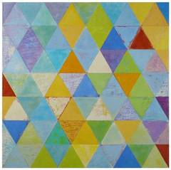 Rummu, Multi-Color Geometric Abstract Encaustic (Wax) Argyle Pattern Purple Blue
