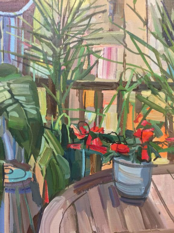 Plants on Porch, Oil Painting of Potted Plants on Artist's Porch - Brown Interior Painting by Francis Sills