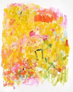 Sunflower Sutra, Large Bright Vertical Yellow Pink Green Abstract Oil Painting