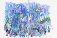 The Whole of the Moon, Large Abstract Diptych in Violet, Purple, Blue and Green