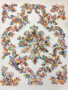 Waggle Dance, Watercolor Painting, Multi-Colored Beetles In Baroque Pattern