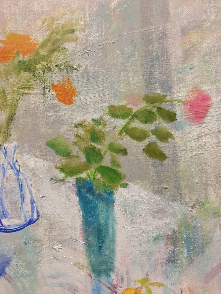 Rain Table, Romantic Grey, Blue Still Life Interior Hints Orange, Pink, Yellow - Painting by Melanie Parke