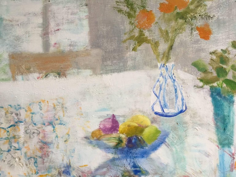 Rain Table, Romantic Grey, Blue Still Life Interior Hints Orange, Pink, Yellow - Contemporary Painting by Melanie Parke