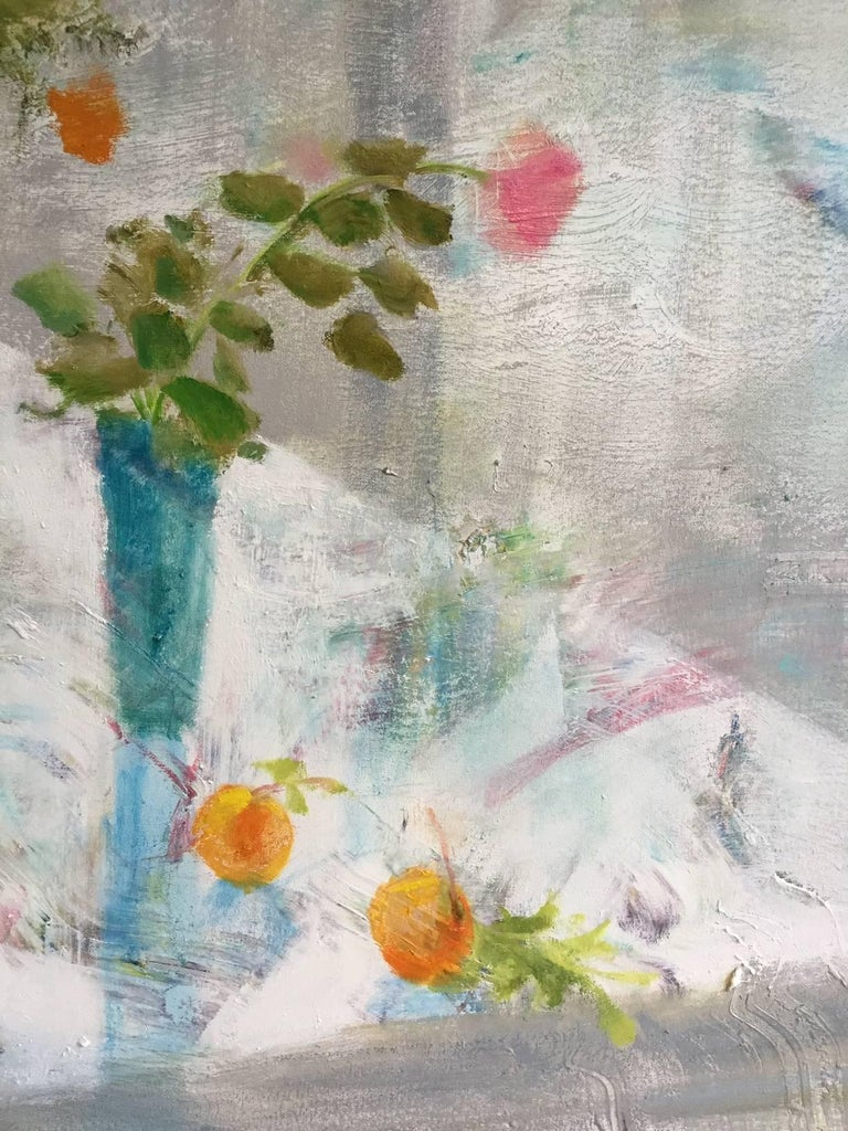 Rain Table, Romantic Grey, Blue Still Life Interior Hints Orange, Pink, Yellow - Gray Interior Painting by Melanie Parke