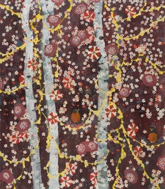 Sewing at Night, Birch Trees and Birds Maroon Red Yellow Vertical Oil Painting