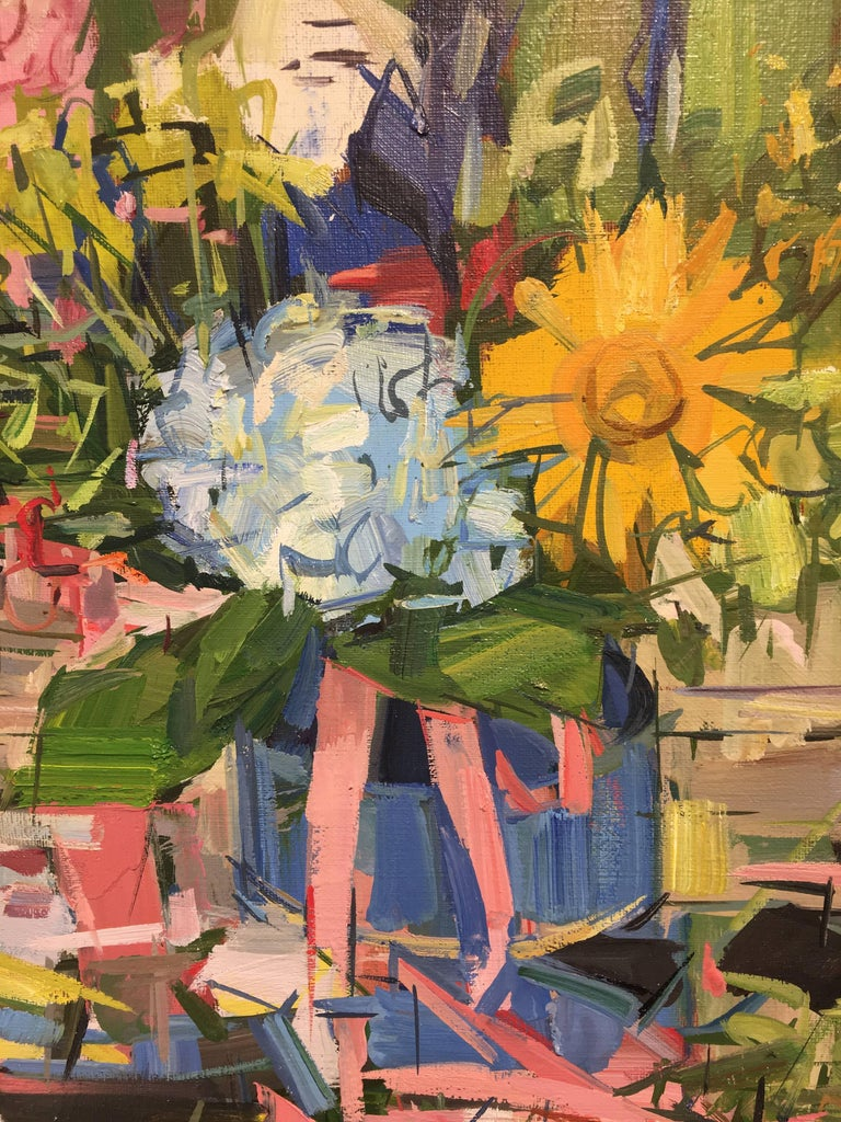 Floral Still Life II, Yellow, Blue, Pink and Green Flowers in Vase on Table For Sale 2