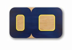 Current, Horizontal Geometric Oblong Navy, Yellow Painting Showing Wood Grain