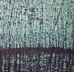 Stream Variation 22, Woodcut of Forest and Stream, Pale Mint Blue, Dark Violet