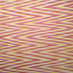 Waves Variation One, Geometric, Pattern in Red, Yellow, Pink, Op Art, Modern
