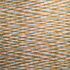 Waves Variation 2, Geometric, Pattern Orange, Green, Blue, White, Op Art, Modern