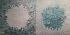 SeaBloom Variations Eight and Nine Diptych, Woodcut, Floral Blooms Over Seascape