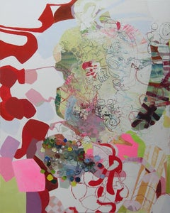 Say Yes, Large, Abstract Vertical Oil Painting, Red, White, Pink, Yellow, Green