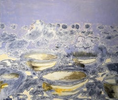 Bowls, Serene Purple Landscape Oil Painting with White Clouds and Yellow Flowers