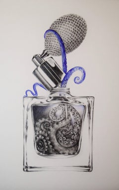 Perfume No. Two, Vertical Animal Drawing of Purple Octopus in a Perfume Bottle