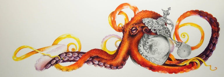 Perfume No. One, Small Horizontal Drawing of Orange Red Octopus and Perfume